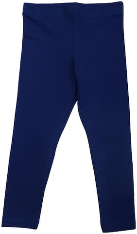 BLISARA Cotton Solid Leggings - Blue