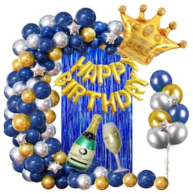 Blooms Birthday Decoration - Blue Golden & Silver Theme - Pack of 65 Pcs