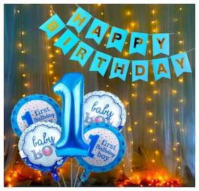 Blooms Happy Birthday Decoration kit for 1st Baby Boy - Pack of 7 Pcs.