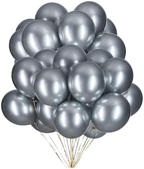 Blooms Mall Vibrant Colours Combo Pack of 50 Balloons - Silver Balloons Combo