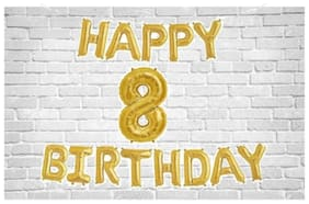 Blooms Mall Happy Birthday (Golden) with Numeric no. 8
