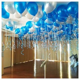 Blue Silver Metallic Extra Shine Party Balloons for birthday festival new year Christmas party decoration frozen theme balloons pack of 50pcs