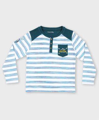 Pink & Blue Boy Cotton Printed T-shirt - Blue