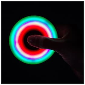 BLULOTUS Presents LED Lighting Light Glowing Luminous Hand Finger Tri Spinner Fidget Toy Stress Reducer Anxiety Relieves Focus Black