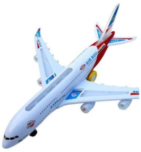 BM Musical AeroPlane Airbus Action with Sound & Lighting (White)