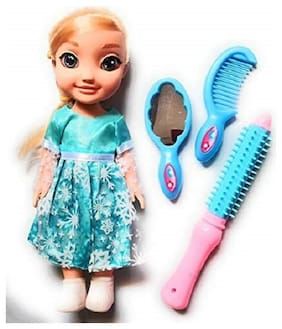 BN ENTERPRISE AdiChai Multi Coloured Snow Sister Doll Toy with Make up Accessories Straightener, Hair Comb and Mirror Play Set for Girls