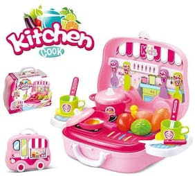 BN ENTERPRISE Girl's Kitchen Cook Pretend Play Set Toy with Wheel Carry Case Suitcase (Multicolour)