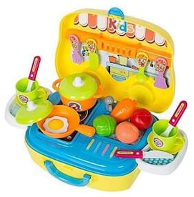 BN ENTERPRISE  Kids Pretend Kitchen Play Set Toy for Girls and Boys with Food Vegetables Cooking Little Chef Set, , Wheel Carry Case/Box Suitcase (Multicolour, 26 pcs)