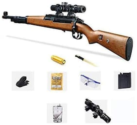BN ENTERPRISE  Original PubG Theme Gun Toys Set with Assault Rifle Kar98k Model, 4X Design Scope, Toy Knife, Water and Soft Foam Bullets and Combat Cards Target Shooting Role Play Game for Kids