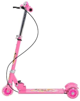 BN ENTERPRISE  3-Wheel Height Adjustable Folding Kick Kids Scooty Scooter Toy with Shockers and Light in Wheels