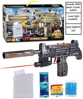 BN ENTERPRISE  Crafts PUBG Theme Uzi Submachine 2in1 Gun Toys Set with Assault Rifle M416 Model, 4X Design Scope,1000+ Crystal Water and Soft Foam Bullets Role Play Game for Kids pubg Toys