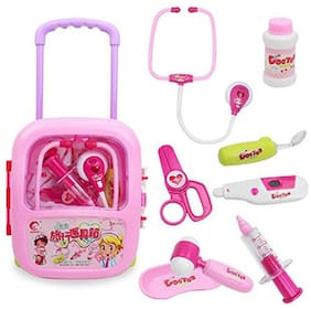 BN ENTERPRISE WISHKEY Doctor Play Set with Pink Trolley Suitcase with Light and Sound Effects