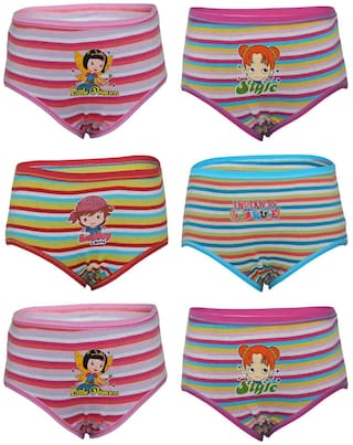 Bodycare Multicolor Printed Panty For Girls Pack Of 6