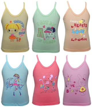Bodycare Camisole for Girls - Multi , Pack of 6