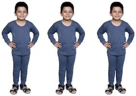 Bodysense Blue Thermal Top & Pyjama Set for Boys and Girls ( Pack of 3 )