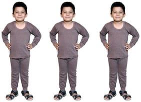 BODYSENSE  Brown Thermal  Top & Pyjama Set for Boys & Girls ( Pack of 3 )