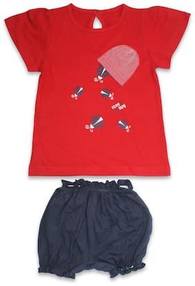 Born Babies Baby girl Top & bottom set - Red & Blue