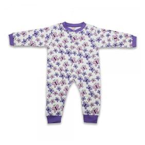 Born Babies Unisex Cotton Printed Romper - Purple