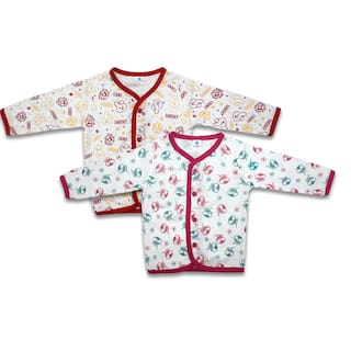 Born Babies Cotton Printed Top for Unisex Infants - Pink & Red