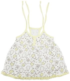 Born Babies Baby girl Cotton Printed Princess frock - Yellow & White