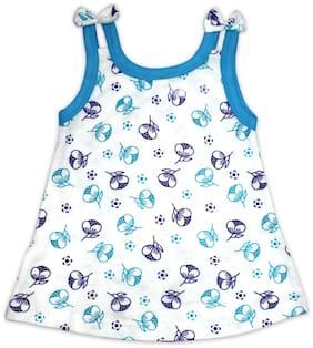 Born Babies Cotton Printed Top for Unisex Infants - White & Blue
