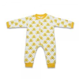 Born Babies Unisex Cotton Printed Romper - Yellow
