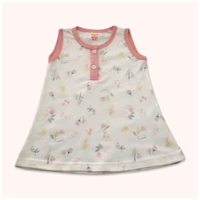 Born Babies Baby girl Cotton Floral Princess frock - Beige