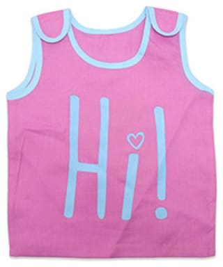 Born Babies Cotton Printed Top for Unisex Infants - Pink