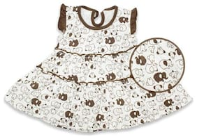 Born Babies Baby girl Cotton Printed Princess frock - Brown
