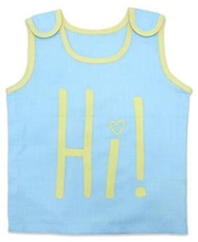 Born Babies Cotton Printed Top for Unisex Infants - Blue