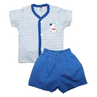 Born Babies Unisex Top & bottom set - Blue & White