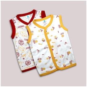 Born Babies Cotton Printed Top for Unisex Infants - Yellow & Red