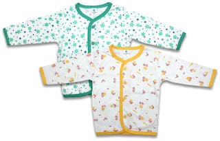 Born Babies Cotton Printed Top for Unisex Infants - Yellow & Green