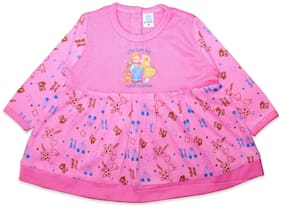 Born Babies Baby girl Cotton Self design Princess frock - Pink