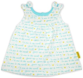 Born Babies Baby girl Cotton Printed Princess frock - Blue