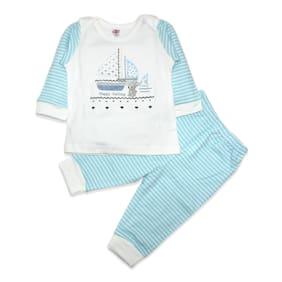 Born Babies Baby boy Top & bottom set - Blue & White