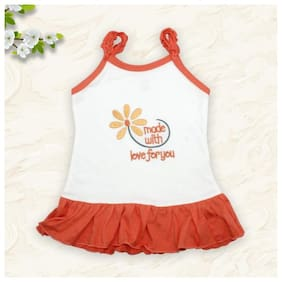 Born Babies Baby girl Cotton Printed Princess frock - Orange & White