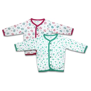 Born Babies Cotton Printed Top for Unisex Infants - Green & Pink