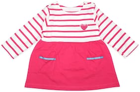 Born Babies Baby girl Cotton Striped Princess frock - Pink
