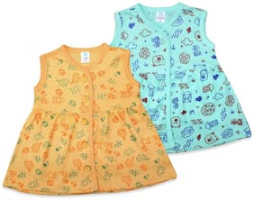 Born Babies Baby Girl Sleeveless Printed Frock (Yellow & Blue)