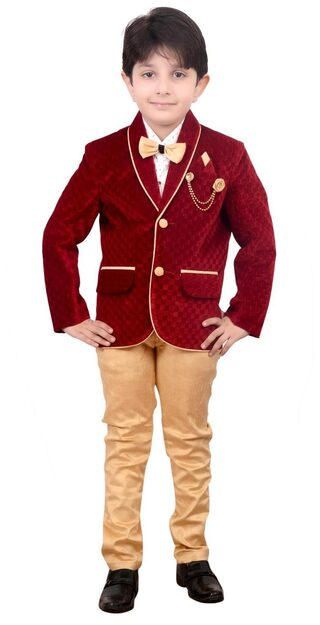 Boys Coat Blazer Suit With Shirt Pant And Bow Kids Wear By Arshia Fashions - 1 - 7 Years - Full Sleeves - Party Wear - Maroon Beige
