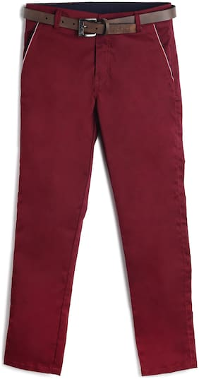 Yusha Boy Solid Trousers - Maroon