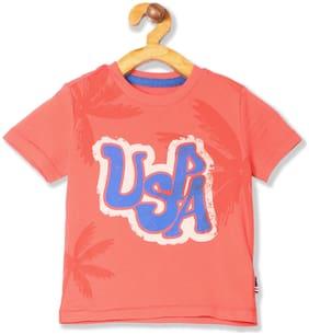 U.S. Polo Assn. Boy Cotton Printed T-shirt - Orange