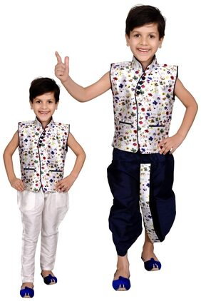 J D Creation Boy Silk Printed Kurta Pyjama Set - Multi