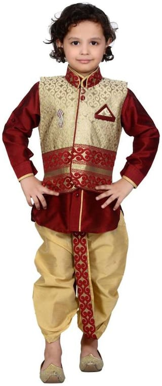 Boys Designer maroon color kurta dhoti and koti for party wear and wedding by J D Creation