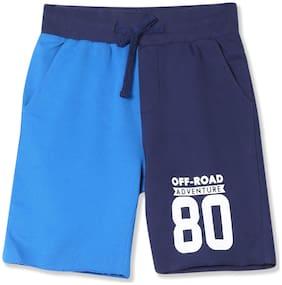 Flying Machine Boy Solid Shorts & 3/4ths - Blue