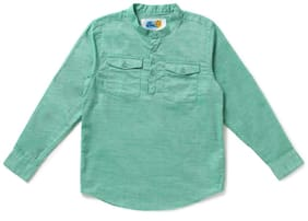 CuB McPAWS Boy Cotton Solid Shirt Green