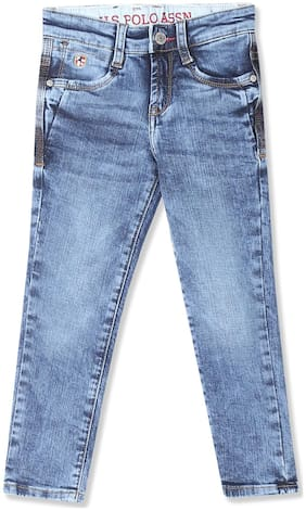 Boys Mid Rise Enzyme Wash Jeans
