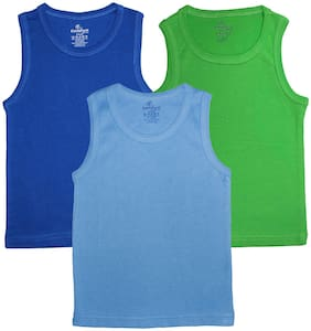 Boys Multi Colors Solid Rib vest Pack of 3