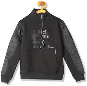 Flying Machine Boy Cotton Printed Sweatshirt - Black